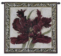 Fire Red Tulip by Liz Jardine | Woven Tapestry Wall Art Hanging | Enlarged Red Tulip Detailed Wine Floral | 100% Cotton USA Size 24.5x24 Wall Tapestry