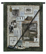 Fore II | Woven Tapestry Wall Art Hanging | Club over Vintage Historic Golfing Collage | 100% Cotton USA Size 32x27 Wall Tapestry