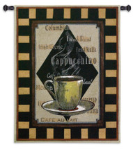 Cappuchino Time I | Woven Tapestry Wall Art Hanging | Warm Antique Coffee Frame Cafe Decor | 100% Cotton USA Size 45x35 Wall Tapestry