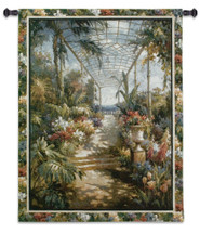 Tropical Breezeway by James Reed | Woven Tapestry Wall Art Hanging | Lush Impressionistic Tropical Garden with Path | 100% Cotton USA Size 53x42 Wall Tapestry