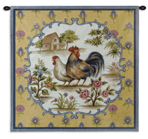 Roosters II | Woven Tapestry Wall Art Hanging | French Provincial Barnyard Hen and Rooster | 100% Cotton USA Size 35x35 Wall Tapestry