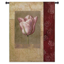 Tulip Rosee | Woven Tapestry Wall Art Hanging | Antique Pink Flower with Worn Floral Background | 100% Cotton USA Size 53x42 Wall Tapestry
