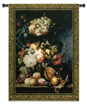 Fruit Medley by Riccardo Bianchi | Woven Tapestry Wall Art Hanging | Fruits And Flower Bouquet Classic Still Life | 100% Cotton USA Size 53x43 Wall Tapestry