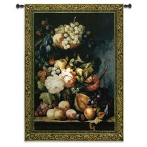 Fruit Medley by Riccardo Bianchi | Woven Tapestry Wall Art Hanging | Fruits And Flower Bouquet Classic Still Life | 100% Cotton USA Size 76x53 Wall Tapestry
