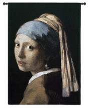 Girl with a Pearl Earring by Johannes Vermeer | Woven Tapestry Wall Art Hanging | Classic Dutch Golden Age Oil Painting | 100% Cotton USA Size 53x38 Wall Tapestry