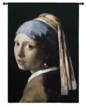 Girl With A Pearl Earring By Johannes Vermeer | Woven Tapestry Wall Art Hanging | Het Meisje Met De Parel Woman Portrait | 100% Cotton USA 53X38 Wall Tapestry