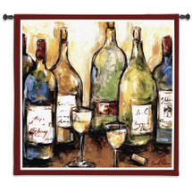 Uncorked | Woven Tapestry Wall Art Hanging | Bold Contemporary Wine Bottles | 100% Cotton USA Size 53x53 Wall Tapestry