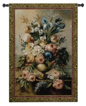Mother's Bouquet | Woven Tapestry Wall Art Hanging | Classical Still Life Floral Vase | 100% Cotton USA Size 76x53 Wall Tapestry