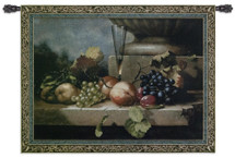 Grapes of Venice by Riccardo Bianchi | Woven Tapestry Wall Art Hanging | Luscious Fruits with Champagne on Stone Ledge Still Life | 100% Cotton USA Size 74x52 Wall Tapestry