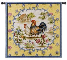 Country Roosters | Woven Tapestry Wall Art Hanging | French Provincial Barnyard Hen and Rooster | 100% Cotton USA Size 53x53 Wall Tapestry
