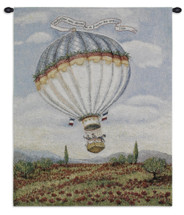 Balloon over Poppy by Alexandra Churchill | Woven Tapestry Wall Art Hanging | Whimsical French Hot Air Balloon Ride | 100% Cotton USA Size 32x27 Wall Tapestry