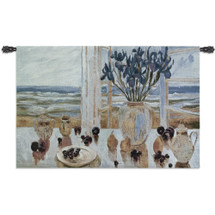 Late Afternoon Irises By S. Burkett Kaiser - Woven Tapestry Wall Art Hanging For Home Living Room & Office Decor - Coastal Seascape Image With A Full Vase Of Flower And A View Of The Beach. - 100% Cotton - USA 36X53 Wall Tapestry