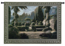 Parterre de la Vierge by Betsy Brown | Woven Tapestry Wall Art Hanging | Rich Green Garden Courtyard with Columns | 100% Cotton USA Size 74x53 Wall Tapestry