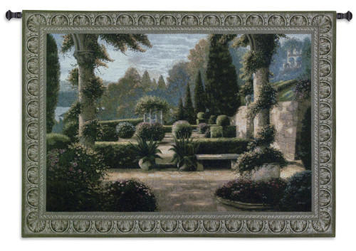 Parterre de la Vierge by Betsy Brown   Woven Tapestry Wall Art Hanging   Rich Green Garden Courtyard with Columns   100% Cotton USA Size 74x53 Wall Tapestry