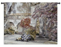 Nostalgia | Woven Tapestry Wall Art Hanging | Serene Floral Arched Courtyard | 100% Cotton USA Size 53x35 Wall Tapestry