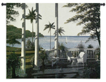 Caribbean Comfort By Bill Saunders - Woven Tapestry Wall Art Hanging - Porch Ocean Scene With Pillars And Lush Palm Trees Of A Seascape Harbor - 100% Cotton - USA 40X53 Wall Tapestry