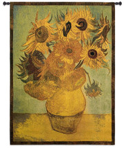 Sunflowers by Vincent van Gogh | Woven Tapestry Wall Art Hanging | Warm Floral Still Life Abstract Masterpiece | 100% Cotton USA Size 53x38 Wall Tapestry