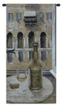 Boscaini | Woven Tapestry Wall Art Hanging | Wine Bottle Balcony Still Life | 100% Cotton USA Size 53x25 Wall Tapestry