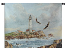 Boston Lighthouse by Rudi Reichardt | Woven Tapestry Wall Art Hanging | Little Brewster Island off Outer Boston Harbor | 100% Cotton USA Size 52x41 Wall Tapestry
