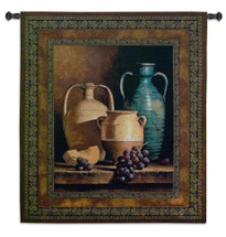 Jugs on a Ledge by Loran Speck | Woven Tapestry Wall Art Hanging | Terracotta Water Jugs and Fruit Still Life | 100% Cotton USA Size 53x45 Wall Tapestry