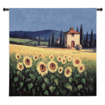 Golden Warmth | Woven Tapestry Wall Art Hanging | Sunflower Field on Tuscan Landscape | 100% Cotton USA Size 54x53 Wall Tapestry