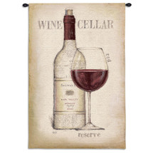 Wine Cellar | Woven Tapestry Wall Art Hanging | Minimal Red Wine Artwork | 100% Cotton USA Size 53x36 Wall Tapestry