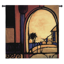 Exotic Retreat II | Woven Tapestry Wall Art Hanging | Abstract Sultry Architecture with Palm Tree View | 100% Cotton USA Size 53x53 Wall Tapestry
