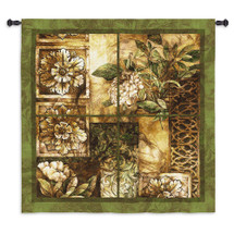 Decorative Textures by Linda Thompson   Woven Tapestry Wall Art Hanging   Lovely Architectural Windowpane with Rich Foliage   100% Cotton USA Size 53x53 Wall Tapestry