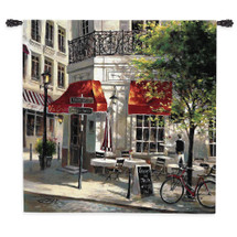 Corner Cafe By Brent Heighten - Woven Tapestry Wall Art Hanging For Home Living Room & Office Decor - Parisian Street Corner Coffee Shop On A Paris Market Street - 100% Cotton - USA Wall Tapestry