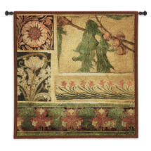Arts Crafts IV by Liz Jardine | Woven Tapestry Wall Art Hanging | Flowers Foliage Acorns Natural Earth Tones Floral Motifs | 100% Cotton USA Size 53x53 Wall Tapestry