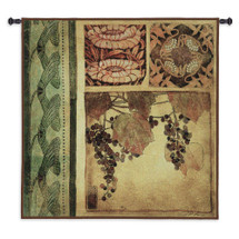 Arts and Crafts I by Liz Jardine | Woven Tapestry Wall Art Hanging | Lush Nature and Fruit Panel Artwork | 100% Cotton USA Size 53x53 Wall Tapestry