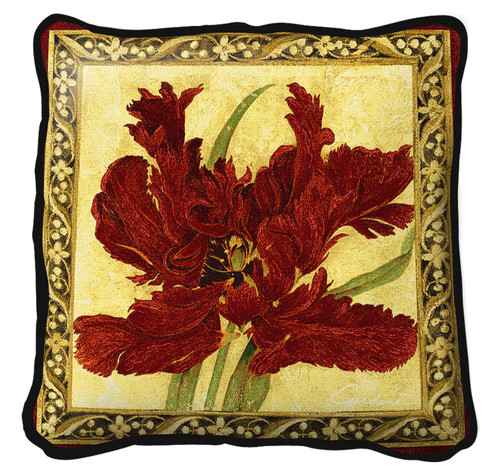 Fire Red Tulip Pillow Pillow