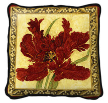 Fine Art Tapestries Fire Red Tulip Hand finished Woven Pillow by Pure Country Weavers. Made in the USA. Size 27 x 27 Pillow