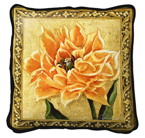 Tulip Unveiled III Textured Hand Finished Elegant Woven Throw Pillow Cover 100% Cotton Made in the USA Size 27 x 27 Pillow