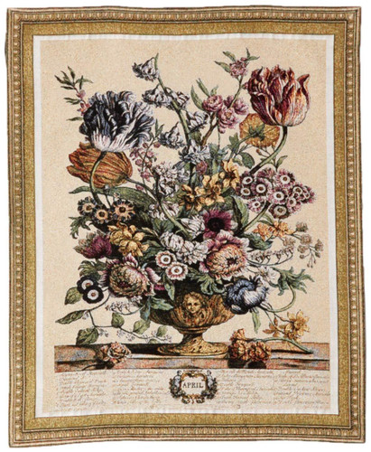 April Botanical by Robert Furber - Woven Tapestry Wall Art Hanging for Home & Office Decor - The Twelve Months of The Year In Flowers Floral Botanical Vase Still Life - 100% Cotton - USA 32X26 Wall Tapestry