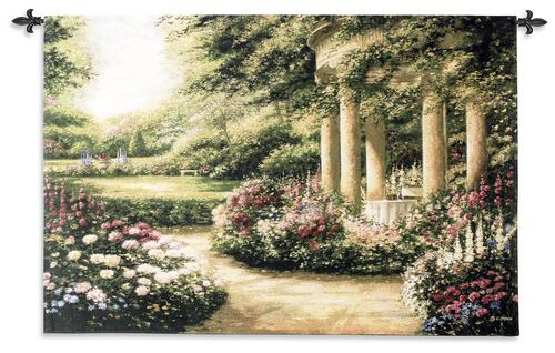 Westbury Gardens | Woven Tapestry Wall Art Hanging | Lush Spring Floral Scene | 100% Cotton USA Size 53x34 Wall Tapestry