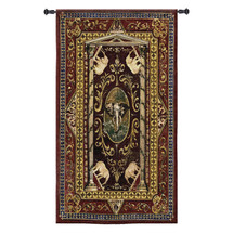 Elephant Tribute | Woven Tapestry Wall Art Hanging | Ornate Filigree Patterns with Elephant Imagery | 100% Cotton USA Size 53x32 Wall Tapestry