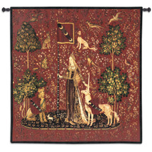 The Lady and the Unicorn – Touch | Woven Tapestry Wall Art Hanging | Historic Middle Ages Tapestry Reproduction | 100% Cotton USA Size 56x53 Wall Tapestry