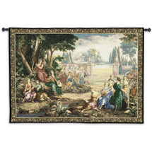 Romantic Pastoral Scene Cotton and Wool | Woven Tapestry Wall Art Hanging | Musical Renaissance Scene in the Woods | 100% Cotton USA Size 71x53 Wall Tapestry