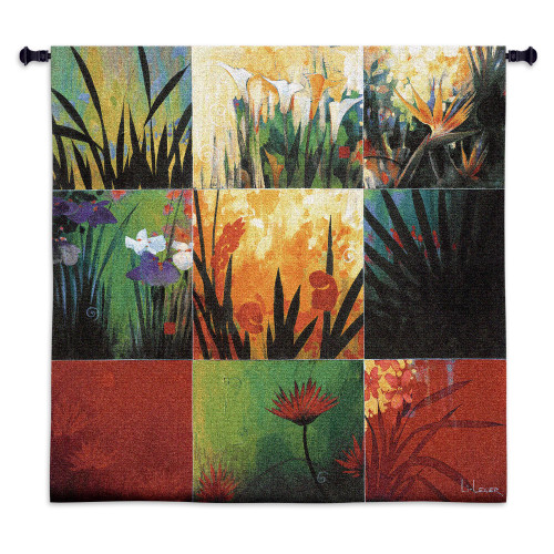 Tropical Nine Patch By Don Li-Leger - Woven Tapestry Wall Art Hanging For Home Living Room & Office Decor - Abstract Tropical Floral Color Panels - 100% Cotton - USA Wall Tapestry