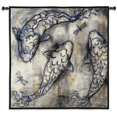 Koi Circle by Xinhua Yin Yang  Woven Tapestry Wall Art Hanging   Pair Of Carp Fish Yin Yang Asian Zen Decoration Japanese Decor   100% Cotton USA Size 53x53 Wall Tapestry