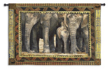 Among Family Elephants with Calfs by Rob Heffernan | Woven Tapestry Wall Art Hanging | African Wildlife | 100% Cotton USA Size 53x38 Wall Tapestry
