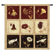 Fresco Collage | Woven Tapestry Wall Art Hanging | Lush Floral Crackled Panels with Birds | 100% Cotton USA Size 53x53 Wall Tapestry