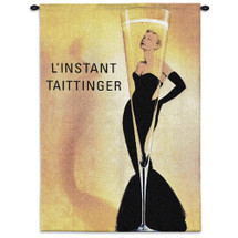Taittinger | Woven Tapestry Wall Art Hanging | Slender Champagne Glass L'Instant Taittinger Grace Kelly Champagne Ad | 100% Cotton USA Size 53x36 Wall Tapestry
