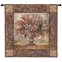 Floral Tapestry | Woven Tapestry Wall Art Hanging | Large Intricate Floral Decorative Urn Centerpiece | 100% Cotton USA Size 53x53 Wall Tapestry