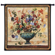Radiance by Jennie Tomao-Bragg | Woven Tapestry Wall Art Hanging | Contemporary Radient Floral Vase Centerpiece | 100% Cotton USA Size 53x53 Wall Tapestry