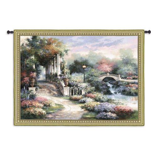 Classic Garden Retreat By James Lee - Woven Tapestry Wall Art Hanging - Scenic Flower Garden Shimmering River Landscape Floral Artwork - 100% Cotton - USA 53X68 Wall Tapestry