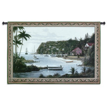 Island Paradise | Woven Tapestry Wall Art Hanging | Tropical Vacation Beach Harbor with Boats | 100% Cotton USA Size 53x35 Wall Tapestry