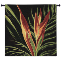 Birds Of Paradise Ii By By Yvette St. Amant | Woven Tapestry Wall Art Hanging | Bold Reds Yellows And Orange Floral Tropical Floral Artwork | 100% Cotton USA Wall Tapestry