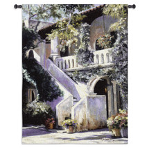 Fine Art Tapestries Balcony De La Flora Hand Finished European Style Jacquard Woven Wall Tapestry  USA Size 52x40 Wall Tapestry